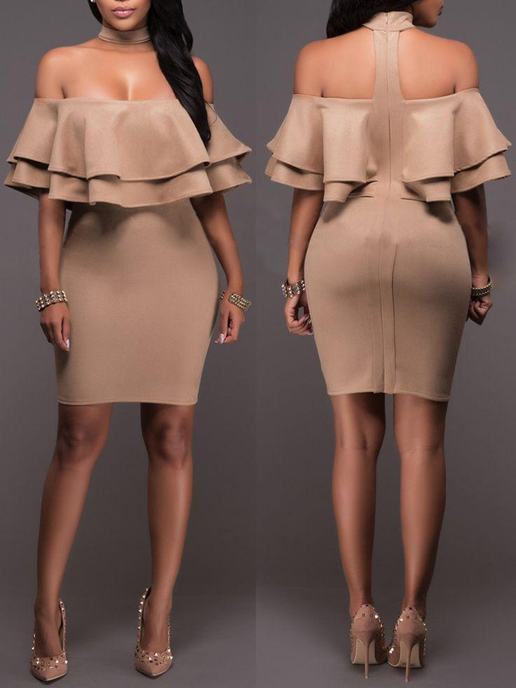 Elegant Off-Shoulder Frill Bodycon Dress