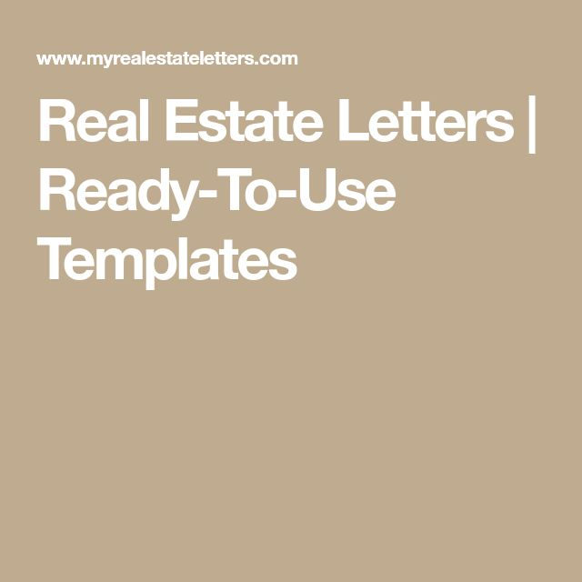 Real Estate Letters   Ready-To-Use Templates