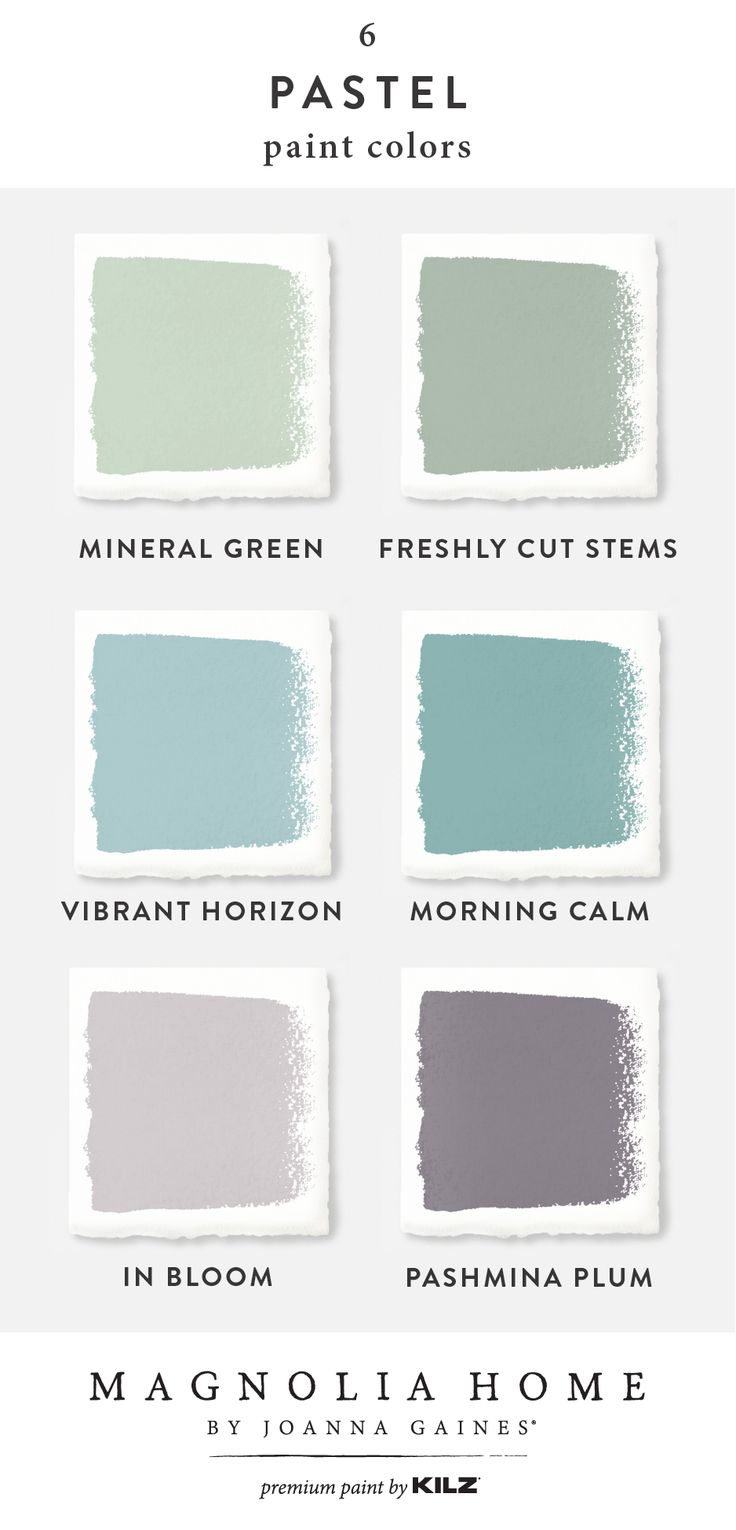 Add a splash of pastel color to the interior design of your home with this color palette from the Magnolia Home by Joanna Gaines® Paint collection. Explore light green, blue, and purple shades like Mineral Green, Freshly Cut Stems, Vibrant Horizon, Morning Calm, In Bloom, and Pashmina Plum. Click below to learn more.