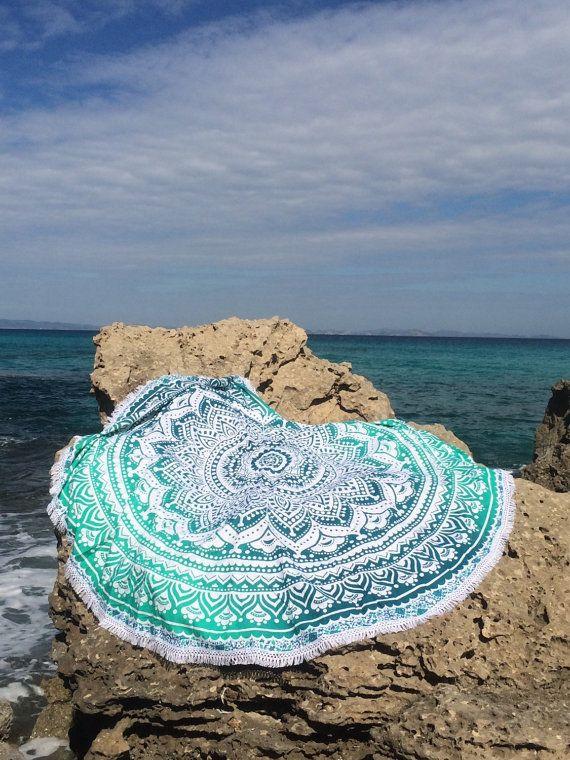 Roundie boho beach Formentera emerald green mandala by AUROBELLE