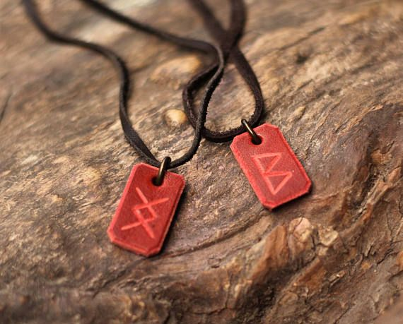Couple Necklace couple pendant  Viking Runes Amulet Inguz