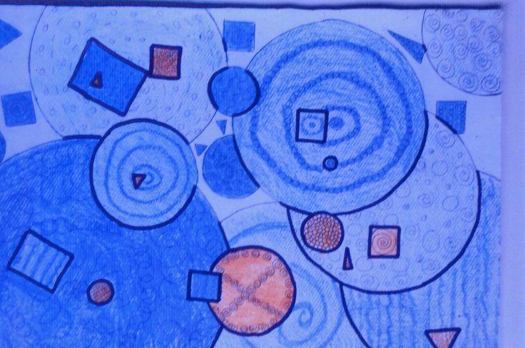 Tecnicismo. Tipos formales. Dominantes y acentos: Círculos y cuadrados Ejercicio realizado en el nivel primario presenta características para trabajar la tendencia tecnicista en arte