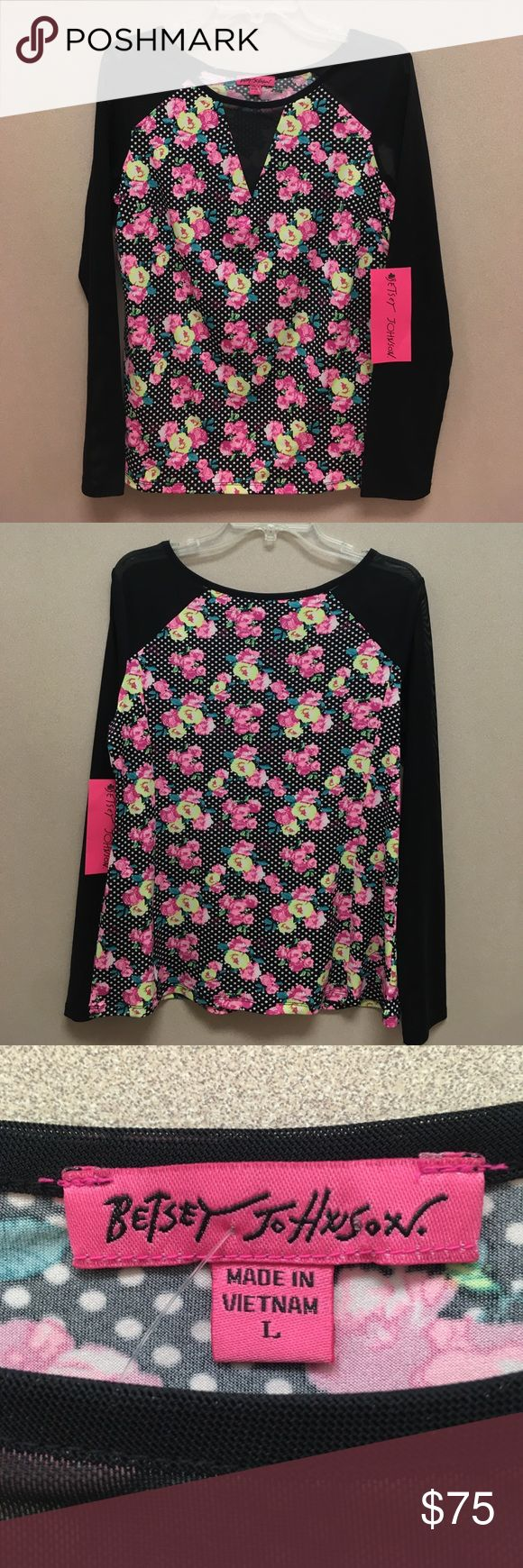"""Betsey Johnson Scoop Neck LS top L These are made of 4 ways stretch fabric (Floral Dot) that's light weight, silky, smooth. The Black areas are of durable Net Mesh. Center front Neck to Hem: approx. 23"""". Arm pit to arm pit: 19.5"""". Betsey Johnson Tops Blouses"""