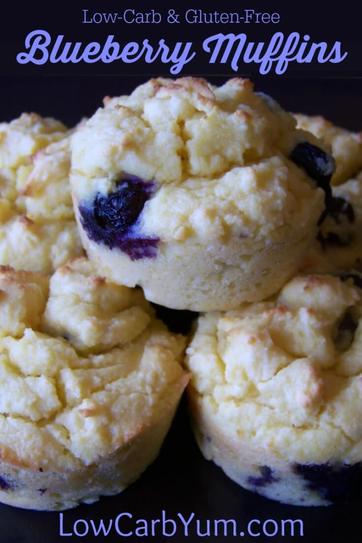 Yummy low carb blueberry muffins to start your day. These gluten free muffins are quick and easy to prepare as a warm breakfast treat.