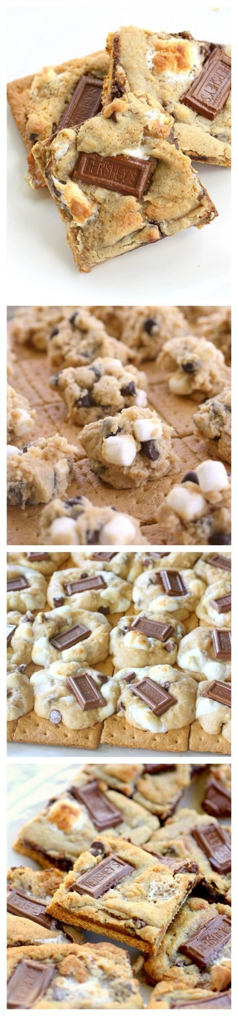 S'mores Cookies - graham crackers topped with chocolate chip marshmallow cookie dough and topped with Hershey squares.