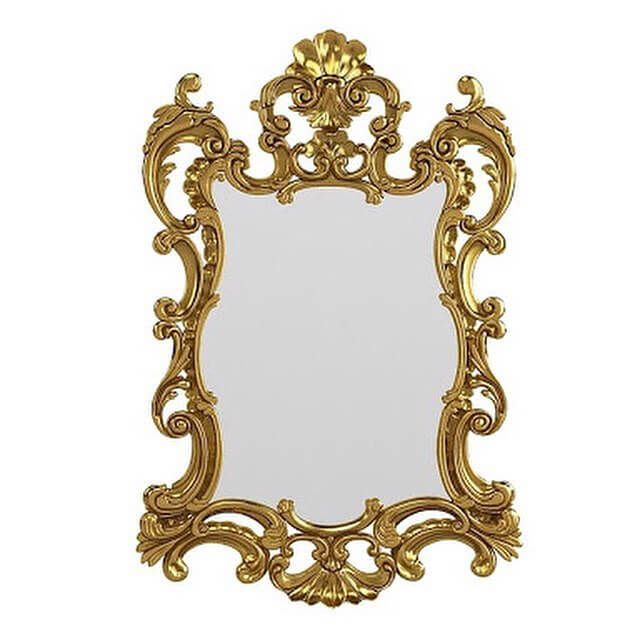 Pigura Cermin Rococo Model Ukir PGR-001 memiliki tampilan mewah untuk menghiasi dinding rumah terbuat dari kayu mahoni dengan finishing emas.