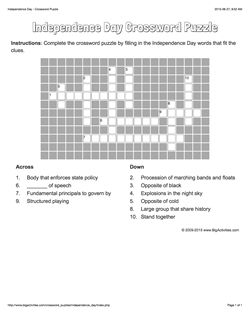 Independence Day crossword puzzle that changes each time you visit.