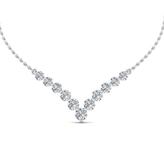 Anniversary Gifts V Shaped Graduated Necklace with Diamonds in 950 Platinum exclusively styled by Fascinating…