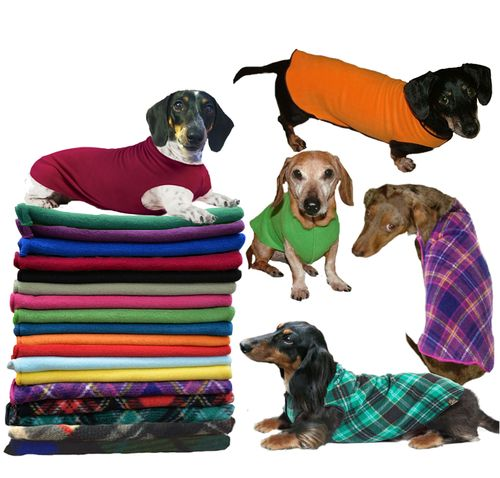 Cozy fleece sweaters designed to keep those hard to fit dachshund bodies snug and warm. Available in 11 colors and 4 sizes.