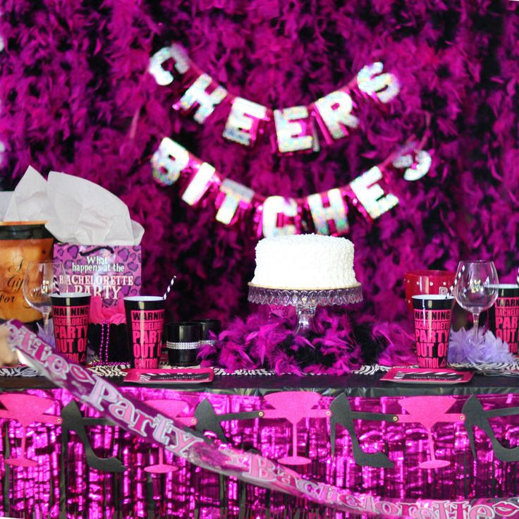 Cheers bitches bachelorette party banner cheer the pink for Bachelorette party decoration ideas
