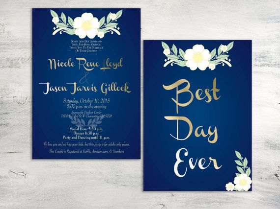 These Magical Wedding Invitations Will Leave Your Guests Awestruck Navy Blue With White Flower