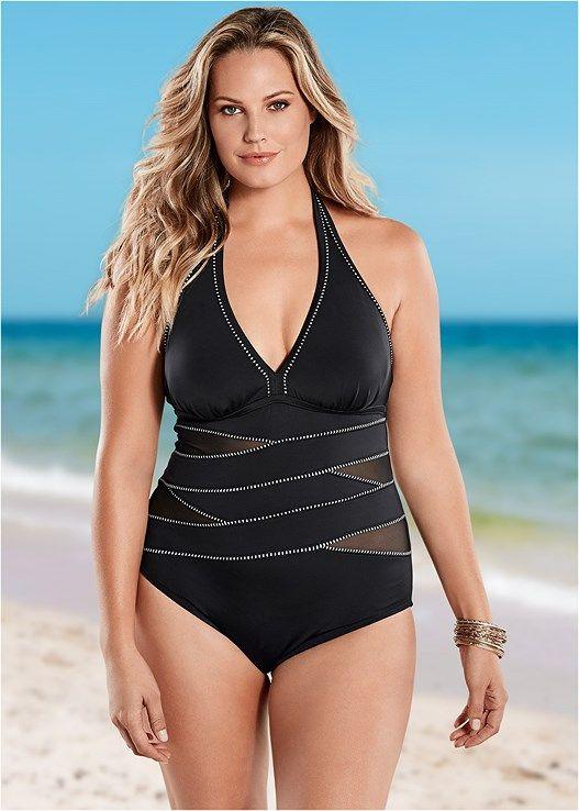 7c4aa0828c Venus Women s Plus Size Peekaboo Halter Onepiece One-Piece Swimsuit - Black  white