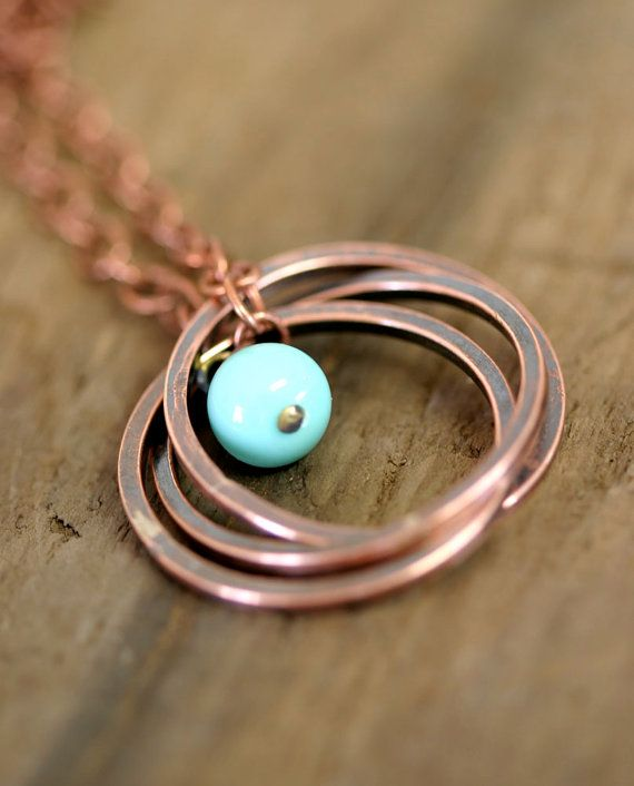 Copper Ring Necklace with Vintage Baby Blue by monkeysalwayslook, $36.00