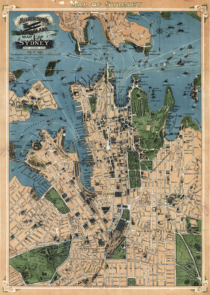 Robinsonu0027s map of Sydney Australia 1922 139