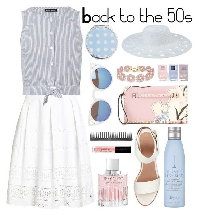 """""""Back to the 50s"""" by isabelhalen ❤ liked on Polyvore featuring Superdry, Warehouse, Miss Selfridge, Drybar, BEA, Valentino, BaubleBar, Quay, San Diego Hat Co. and Jimmy Choo"""