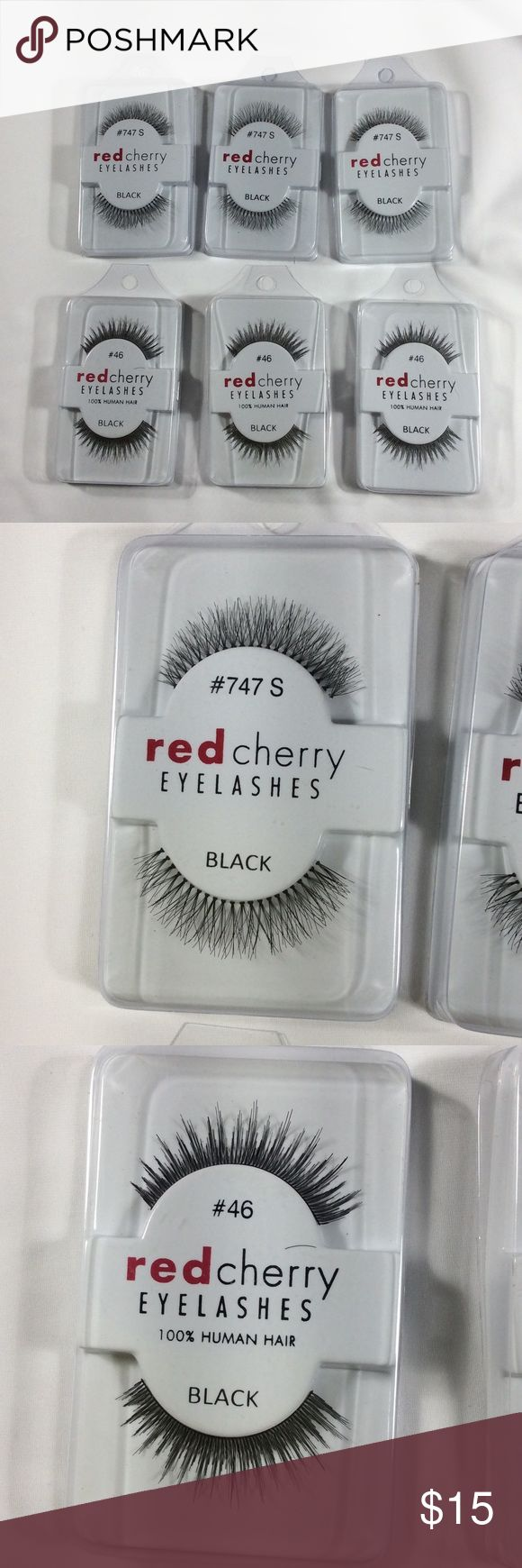 NEW 6 Pair Eyelashes Red Cherry false eyelashes, #46 and # 747.  100% human hair, according to the online description.  You receive 6pair for your order. Still stapled shut, never opened or used. Red Cherry Makeup False Eyelashes