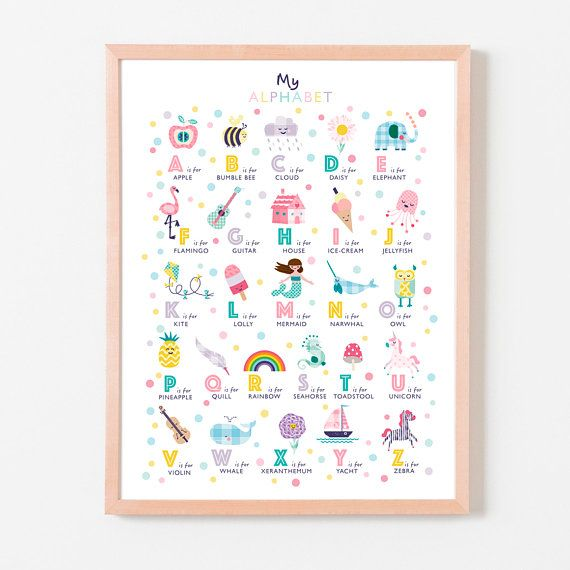 picture Baby room A4 print Personalised  name and colour poster letter N.