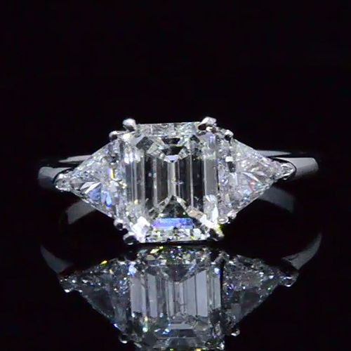 3.04 Ct. Three Stone Diamond Engagement Ring G,SI1 EGL - Recently Sold Engagement Rings