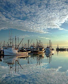 Alex Lyubar Fine Art Photography  The Beautiful Reflection at Sunset by Alex Lyubar  #AlexLyubarFineArtPhotography  #Sea #Boats #Sunset #Reflection #VancouverCanada #Steveston #ArtForHome #FineArtPrints