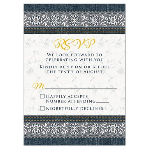 Denim and lace wedding RSVP card. This denim jeans and white lace wedding reply card is a unique wedding theme idea for a country wedding or a wedding where the couple enjoys country casual rather than fancy gatherings. This denim and lace wedding RSVP card is perfect for an outdoor, barn, farm, cottage, or country wedding. It also works for a shabby chic or rustic wedding. Denim blue jeans are iconic to American culture. Dress the denim up with some lace for a casual, fun wedding. The denim…