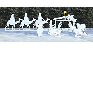 Winter White Nativity Pattern Set: Decorate you lawn in style this winter. Patterns to make everything you see here. Patterns #1151-S $58.95 (Christmas, crafting, crafts, woodcraft, pattern, woodworking) Pattern by Sherwood Creations