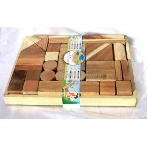 Q toys - Natural Wooden Blocks (34 pieces)