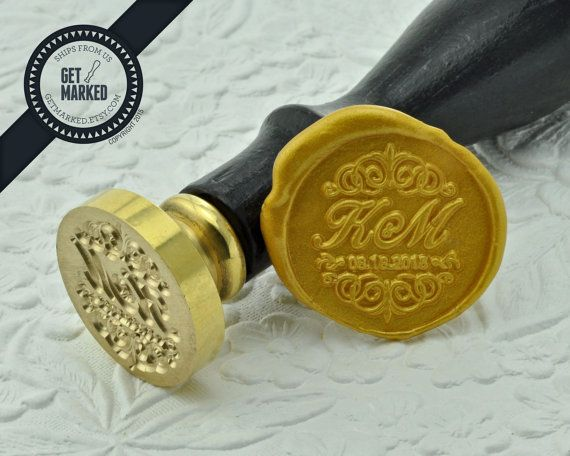 Victorian  Customized Wedding Wax Seal Stamp Template by GetMarked
