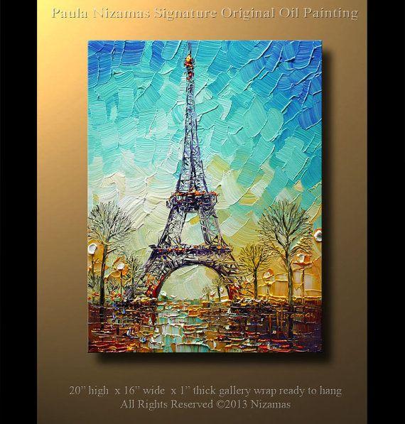ORIGINAL abstracto contemporáneo Torre Eiffel óleo por Artcoast