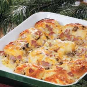 Brunch Bake (biscuits, egg, Canadian bacon, cheese)