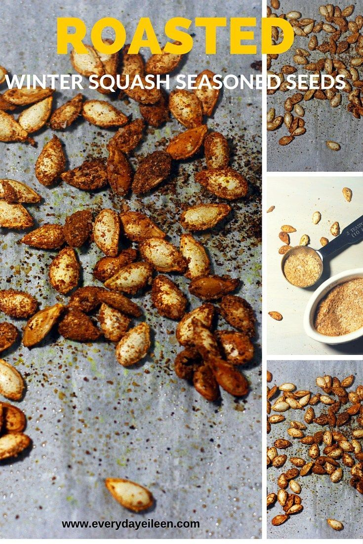 Roasted Seasoned Squash Seeds are a perfect snack! A great way to use all those squash and pumpkin seeds.  Use my homemade seasoning salt for a tasty low-fat snack!