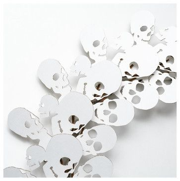Skull Wreath, White - contemporary - Wreaths And Garlands - Cardboard Safari