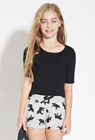 Girls Unicorn Print Heathered Shorts (Kids) | Forever 21 girls - 2000142305