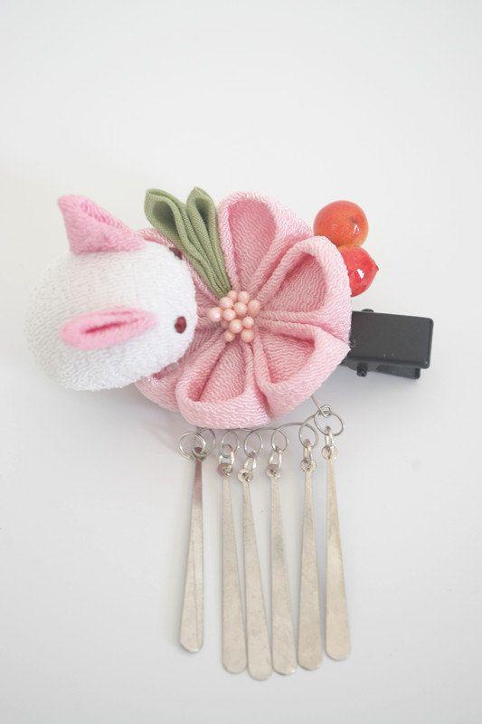 Handmade Japanese Traditional Tsumami Kanzashi Hair Clip Pin Kimono Yukata Outfit Wedding Ornament Pink Sakura and Cute White Rabbit