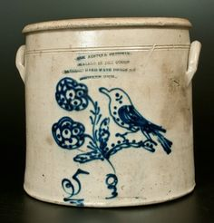 Sold $1,100 Extremely Rare Five-Gallon Stoneware Crock with Cobalt Bird and Flower Decoration, Impressed with Brooklyn, Michigan Advertising, attributed...