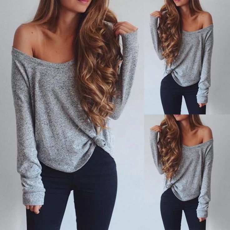 Wome Sexy One Shoulder Crew Neck Loose T-shirt