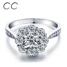 White Gold pokovené Flower Snubní prsteny AAA Zirkonové Vintage Zásnubní prsteny pro ženy CZ diamantové šperky Bague Femme Dary CC047 (Čína (pevninská část))