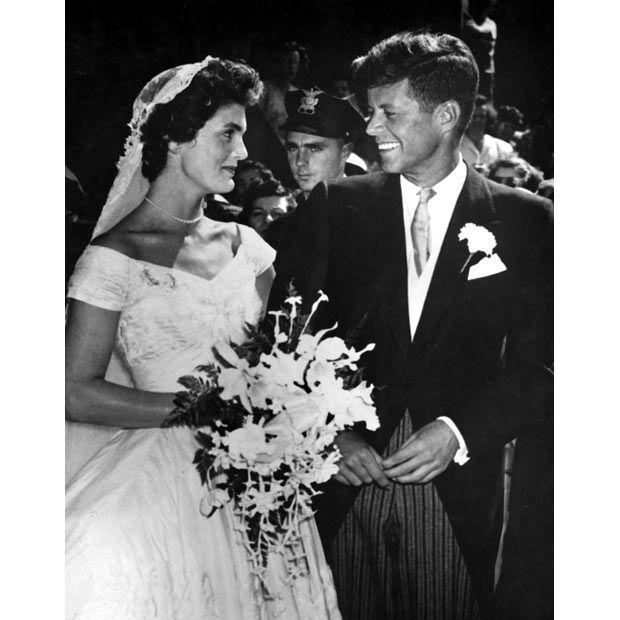 John F Kennedy and Jacqueline Bouvier Kennedy on their wedding day in Newport, Rhode Island, 1953