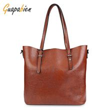 Guapabien Ženy kabelka Soft PU Oil Wax Leather Shoulder Bag Značka Women Bag Velkokapacitní Casual Tote Bag Crossbody Bag (Čína (pevninská část))
