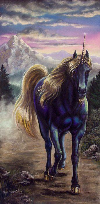 Fantasy Art Black Unicorn Art Print Horse Print Equine Art