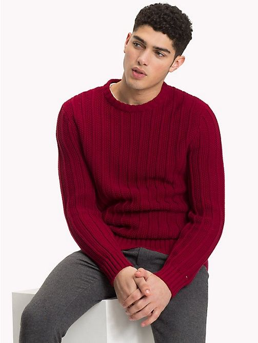 bdec74e6 TOMMY HILFIGER All-Over Vertical Knit Jumper - RHUBARB - TOMMY HILFIGER  Fall preview - main image