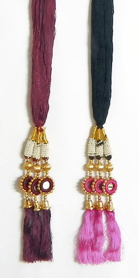 A Pair of Parandi - For Hair Braids with Pink and Maroon Tassels (Thread)