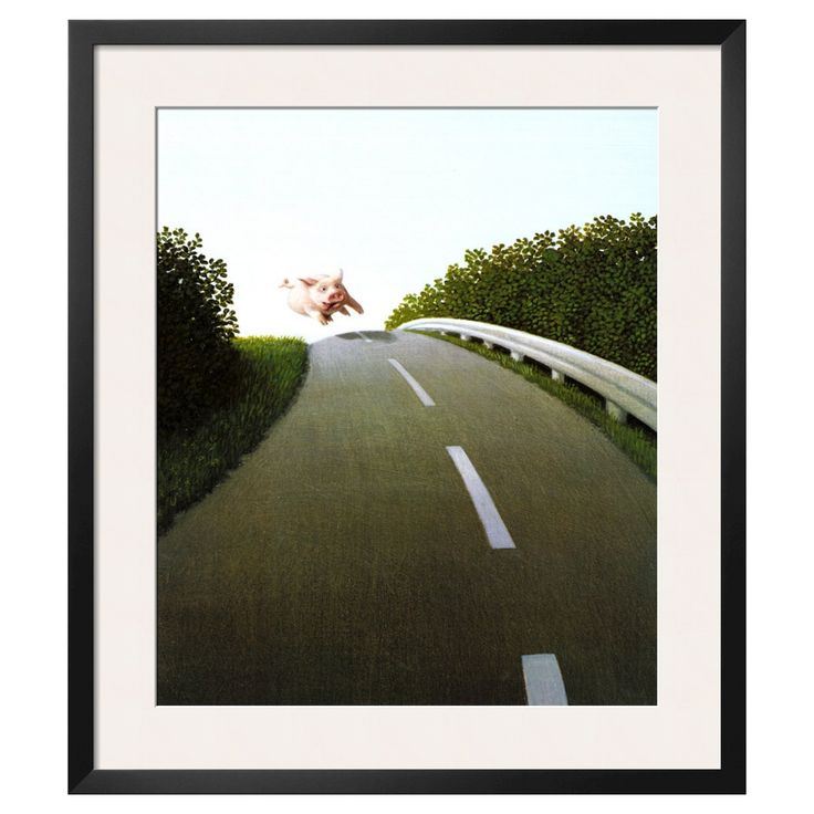 Art.com - Highway Pig by Michael Sowa - Framed Print, White