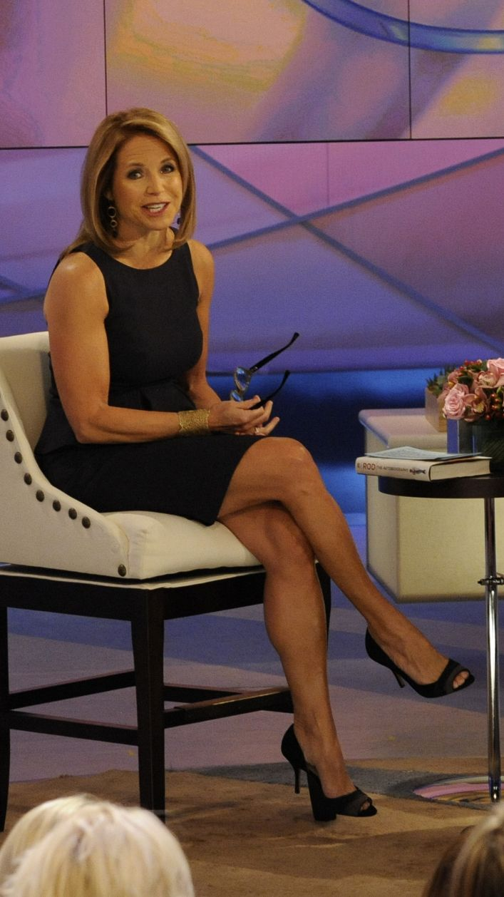 Katie Couric in a Hugo Boss dress on the set of Katie