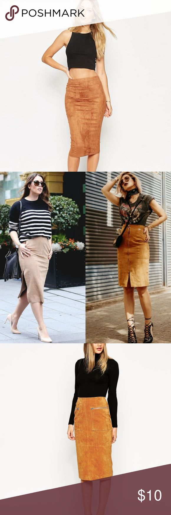Knee Length Brown (camel) Skirt Knee Length Brown (camel) Skirt Alamos  Labeled