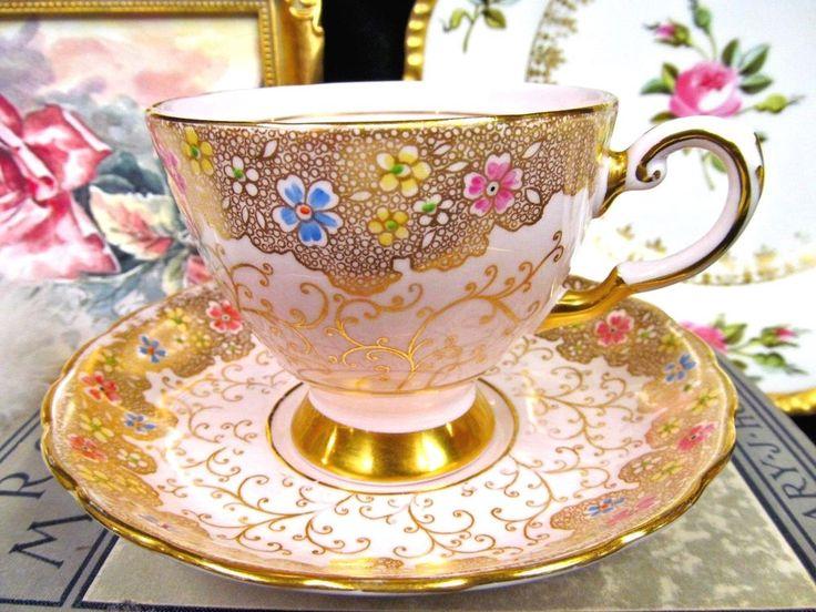 Tuscan tea cup and saucer pink & beaded flowers gold gilt teacup pattern   Antiques, Decorative Arts, Ceramics & Porcelain   eBay!