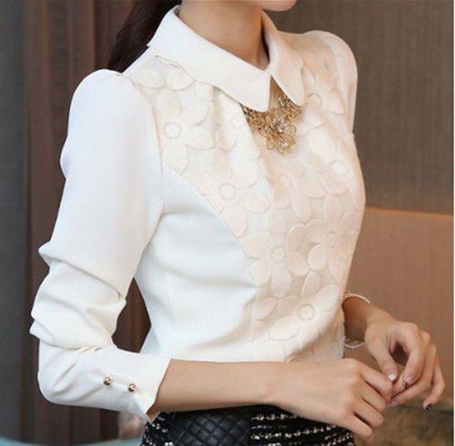Blusa feminina Coreana Menina solta Manga Longa Blusa Camisa Chiffon Bordado Camisa Branca   Roupas, calçados e acessórios, Roupas femininas, Blusas e túnicas   eBay!