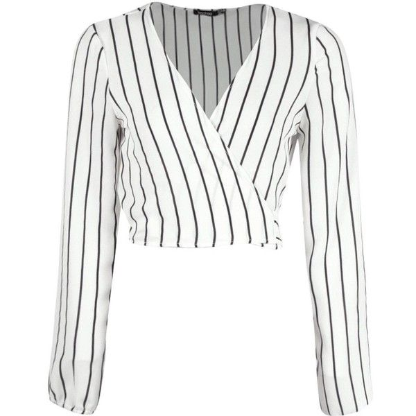 Phoebe Striped Tie Back Blouse ($2.90) ❤ liked on Polyvore featuring tops, blouses, blusas, crop tops, shirts, white shirt, white stripes shirt, shirt blouse, white crop shirt and white top