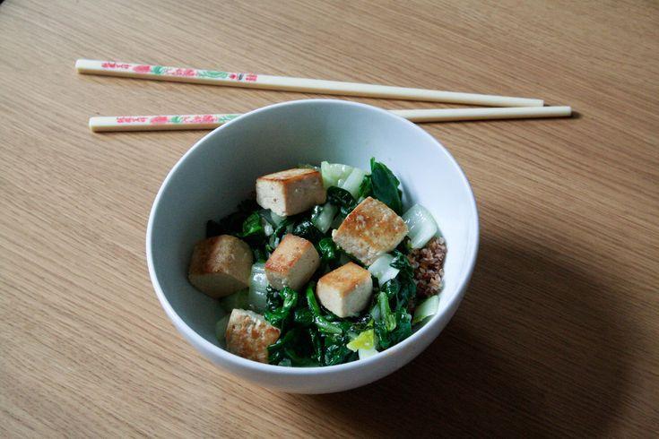 Wok met Paksoi en Gemarineerde Tofu - Julienne