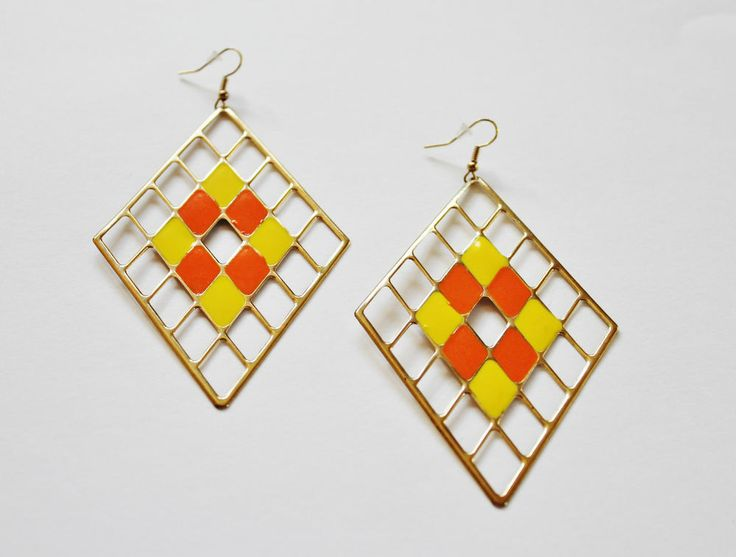 Fashion jewelry- Cleopatra Earrings -Orange/Gold/ Yellow