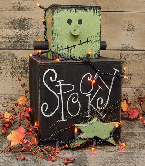 frankie mini stacker kruenpeeper creek country gifts - Wooden Halloween Decorations